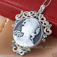 New Vintage Silver Plated Crystal Cameo Lady Beauty Round Pendulum Pendant Bead