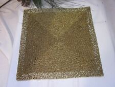 ARCTIC HOLIDAY CHRISTMAS GOLD SQUARE GLASS BEADED PLACEMATS CHARGERS SET 4 NEW