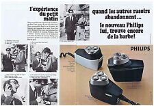PUBLICITE ADVERTISING 104 1969 PHILIPS rasoir électrique (2 pages)