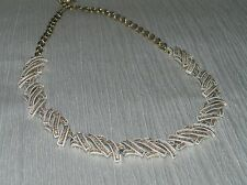 Vintage White & Gold Enamel Twisted Twig Choker Necklace – 16 inches in length
