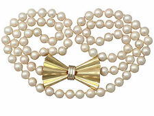Single Strand Pearl & 18ct Yellow Gold Necklace - Art Deco Style - Vintage