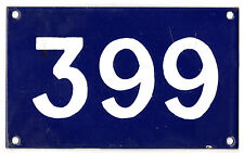 Old Australian used house number 399 door gate enamel metal sign in French blue