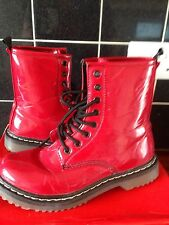 Ladies bright red patent lace-up  ankle boots Chilli Pepper, herman uk 5 in box