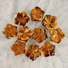 g0054 10 pcs carved golden tiger eye flower beads