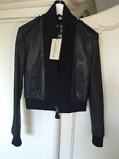 Burberry London Super Rare Women's Bomber Leather Jacket Blazer NEW RRP £1550