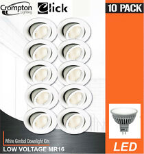 10 Pack x White Gimble LED Downlights 12V 6W MR16 GU5.3 Wide Beam Gimbal