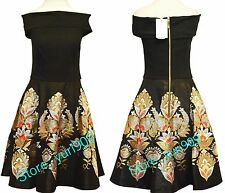 Ted Baker London Black Airlo Opulent Orient Bardot Dress Size 4 (US 10) $349