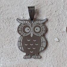 Neu 3,5cm EDELSTAHL ANHÄNGER mit EULE Uhu OWL farbe silber EDELSTAHLANHÄNGER