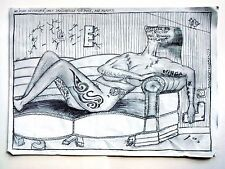 Tattooed Girl ,Nude Naked Art, Love Story By Artist Danor Shtruzman 2013 Drawing
