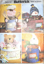 Butterick Crafts Holiday Containers Gift Baskets Snowman Bear Pattern 3614 UC