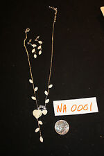 NEW Bridal / Prom Silvertone Pearly Hearts Earring & Necklace Set  AC-NA0001-7b