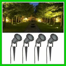 Garden Spike Light 4 Pack Adjustable Outdoor Black Patio Yard Halogen LED GU10