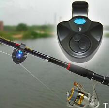 TISU Black Electronic LED Light Fish Bite Sound Alarm Bell Clip On Fishing Rod