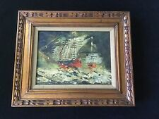 Original Abstract Nautical Clipper Ships At Sea Oil Painting-Signed-Italy. *1717