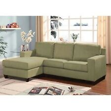 Vogue Sofa Microfiber Reversible Chaise Sectional Couch Furniture Pebble
