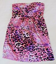 womens multi color SNAP dress strapless animal print party club woman plus 1X