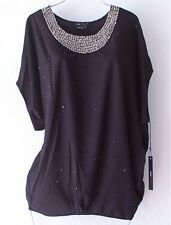 NEW~$140~BCBG~Black Silver Gray Bead Pullover Blouse Shirt Top~10/12/L/M/Medium