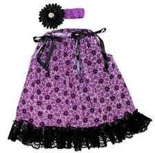 HALLOWEEN Girl 2pc Set Fall Purple Black Pillowcase Dress Headband 2T