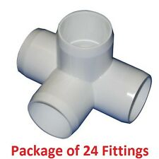 "3/4"" Furniture Grade 4-Way Side Outlet Tee PVC Fitting - 24 Pack"