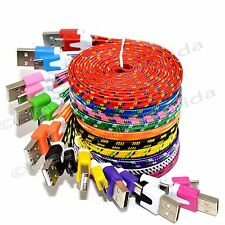 LOT Flat Braided Micro USB Charger Cable Cord Sync For Android Cell Phone Lot