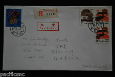 China PRC T107 8f, R23 2f, 90f x 2 on Cover - Registered to Singapore