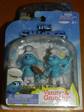 Smurfs Set of 2 PVC/Cake Toppers Figures Vanity & Grouchy Grab 'Ems Jakks