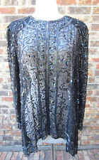BEAUTIFUL SEQUIN BEADED SEE THROUGH SILK BLACK TOP BLOUSE SIZE LARGE