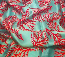 """Silk CHARMEUSE Fabric TURQUOISE WITH CORAL 45"""" by the yard"""