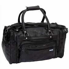 """Black Leather 17"""" Duffle Gym Bag Travel Carry On Tote Bag Satchel Mens Womens"""