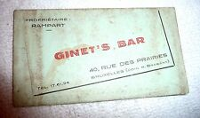 CARD GINET'S BAR BRUXELLES BELGIUM 1940'S INTIMATE SERVICE WELCOME ALLIED TROOPS