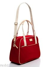 NWT Kate Spade Red & Khaki Kennedy Park Milla Overnight Bag, MRP $398