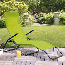 Green Sling Patio Chaise Lounger Chair Outdoor Home Seating Furniture Poolside