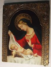 Mary with Child Print, Canvas on Frame, Icon, Red