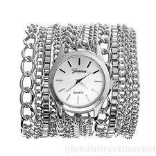 Wickelarmband Uhr Damenuhr Wickeluhr Edelstahl Kette Armbanduhr Quarzuhr Silber