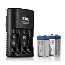 EBL 2x 600mAh 9V Li-ion Rechargeable Batteries + AA AAA 9VOLT Battery Charger