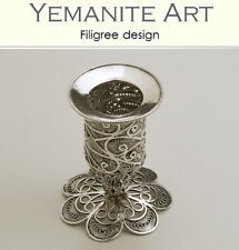 Sterling Silver Havdalah Candle Holder Filigree Artisan Judaica, Yemenite Art