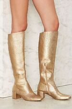 Matisse Truth Be Gold Knee-High Leather Boots size 8 new in box GOLD