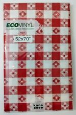 Eco Vinyl Red Gingham Flannel Back Picnic Tablecloth 52x70 Oblong BPA TOXIN FREE