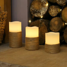 SET OF 3 ASSORTED INDOOR NAUTICAL PORTMELLON WOVEN ROPE WAX CANDLE LED LIGHTS