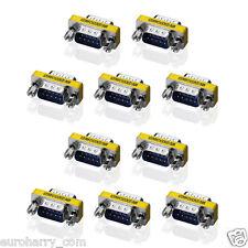 10x D-Sub Gender Changer DB9 Männlich/Männlich Seriell Adapter RS232