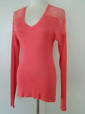 BEBE long sleeve nectar knit top lace trim size small
