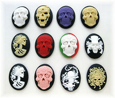 12 Mixed Goth SUGAR SKULL & LADY Skeleton Zombie 40mm x 30mm Craft CAMEOS Lot A