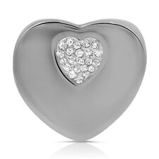 Big Chunky Crystal CZ Heart Stainless Steel Statement large Cocktail Ring Size 6