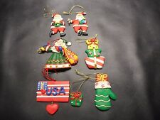 Christmas Tree Decorations  Santa Claus  Presents  Mittens  Flag  Baked Clay