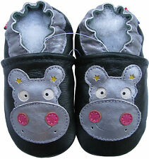 carozoo soft sole leather baby shoes hippo dark green 0-6m