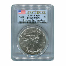 2011 (S)  SILVER EAGLE DOLLAR  PCGS MS70  FIRST STRIKE STRUCK AT SAN FRANCISCO