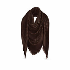 NEW Authentic LOUIS VUITTON Monogram LV Chocolate Silk Wool Shawl Scarf M71361