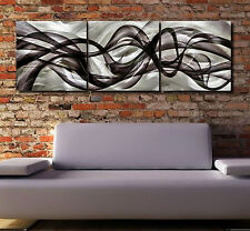 Metal Modern Abstract Wall Art Original painting Contemporary silver  Sign