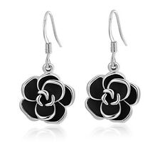 Elegant Silver & Black Camelia Flower Party Evening Dangle Drop Earrings E776