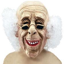 OLD MAN RUBBER MASK MENS MAD PROFESSOR WHITE HAIR HALLOWEEN LATEX COSTUME MASK